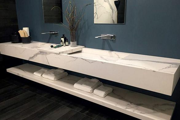 Floating Quartz Bathroom Countertops and Bath Vanities | Imperial Vanities