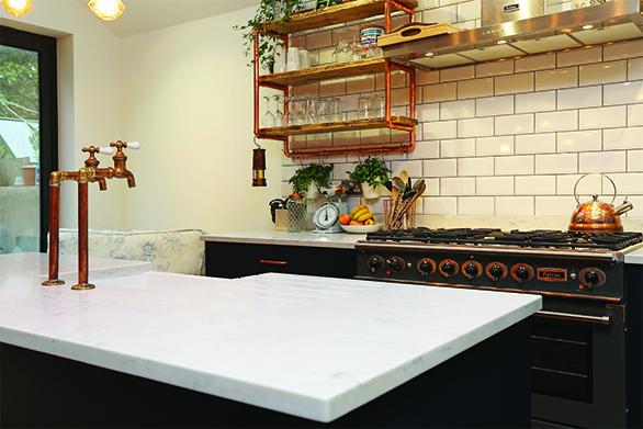 Quartz countertops for vintage interior style