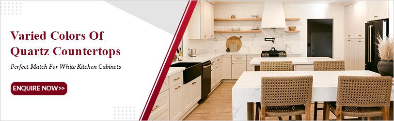 prefab quartz countertops for white kitchen cabinets