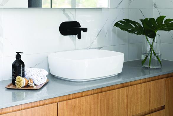 concrete look quartz vanity tops for modern bathroom